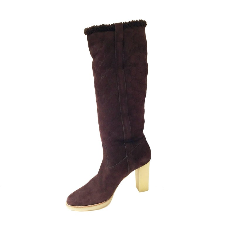 New Gucci Shearling GG Guccissima Logo Boots Sz 10 For Sale 1