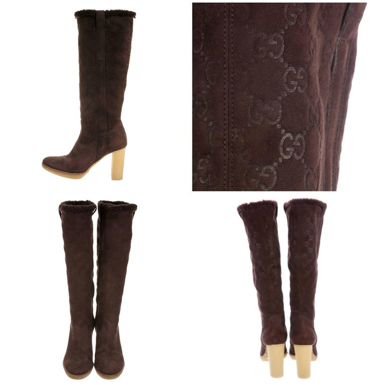 New Gucci Shearling GG Guccissima Logo Boots Sz 10 In New Condition For Sale In Leesburg, VA