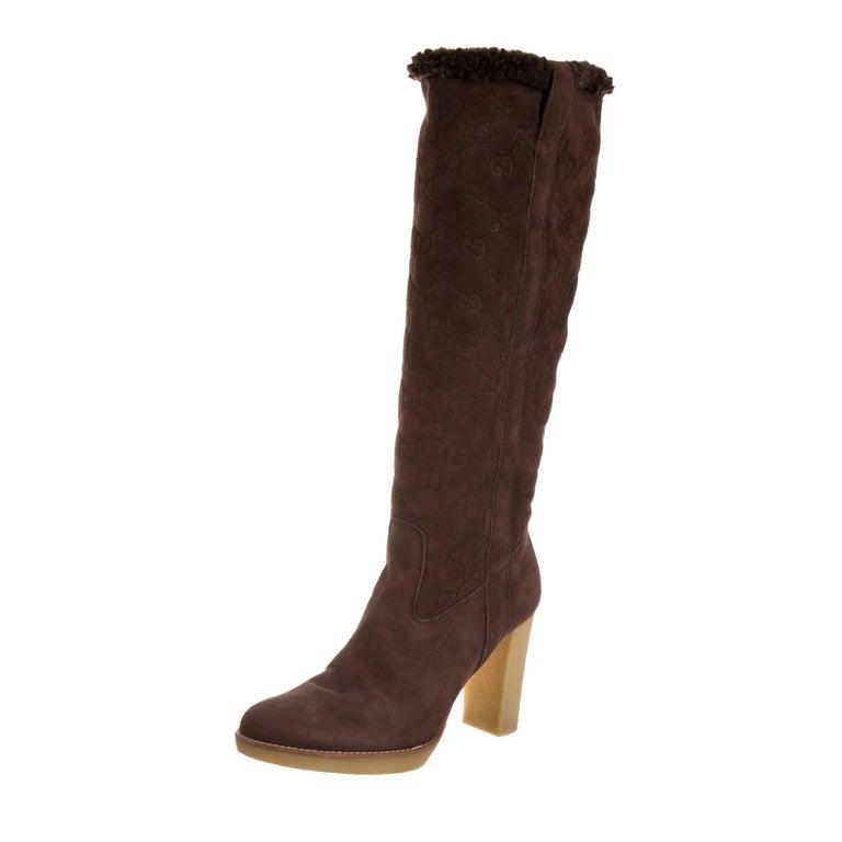 New Gucci Shearling GG Guccissima Logo Boots Sz 10 For Sale 2