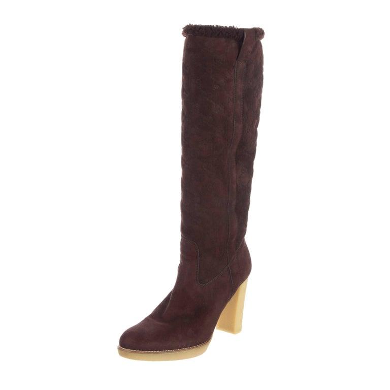 New Gucci Shearling GG Guccissima Logo Boots Sz 10 For Sale 4