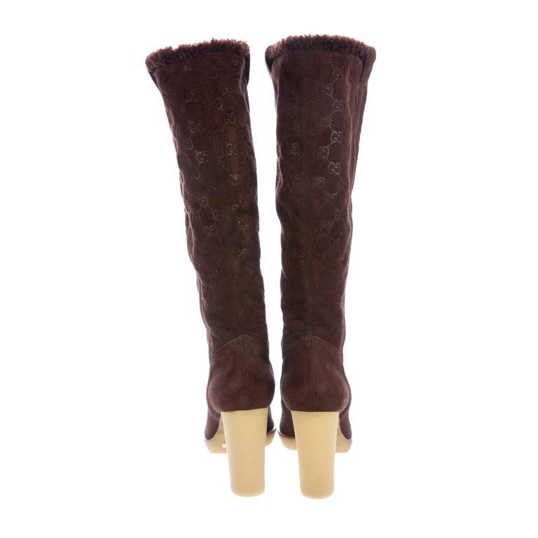 New Gucci Shearling GG Guccissima Logo Boots Sz 10 For Sale 3