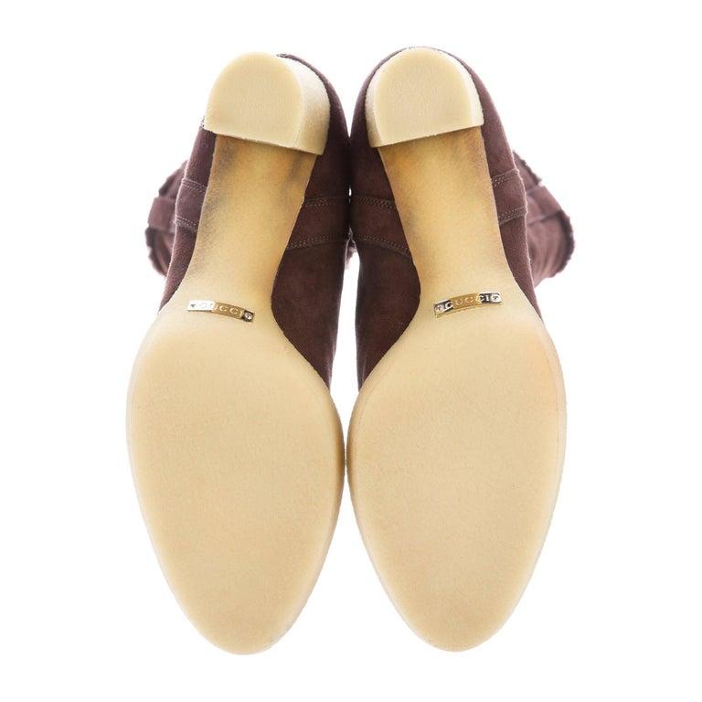 New Gucci Shearling GG Guccissima Logo Boots Sz 10 For Sale 5