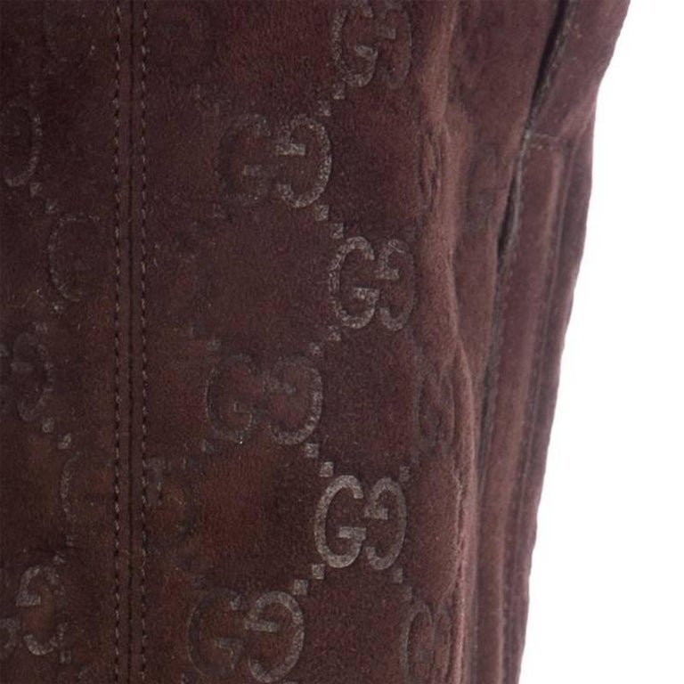 Women's New Gucci Shearling GG Guccissima Logo Boots Sz 10 For Sale