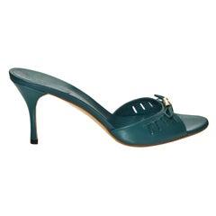 NEW Size 10 Gucci Teal Kitten Mule Heels