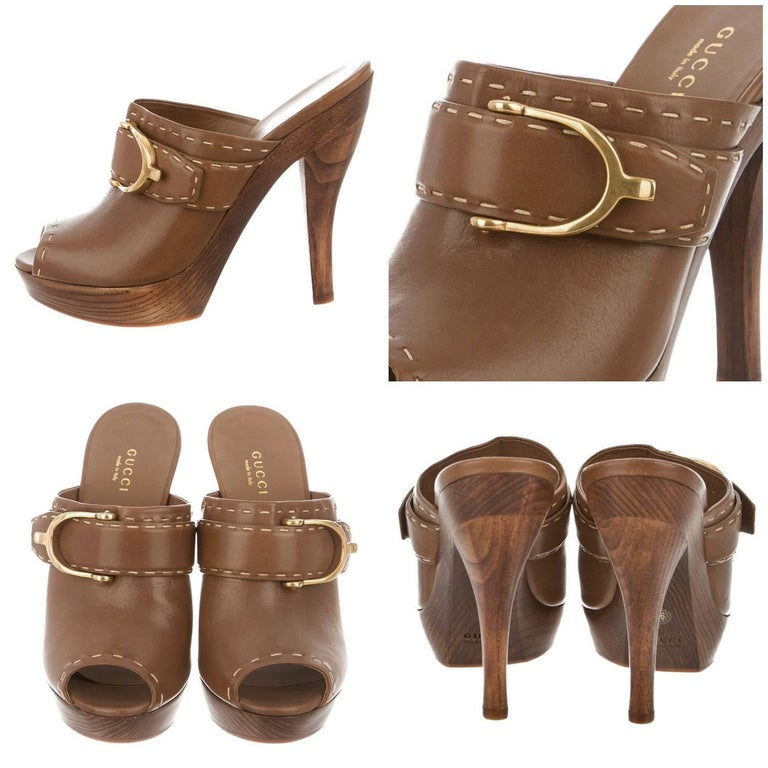 1a8ef752e211e Leather Gucci Heels Brand New * Brown Leather Peep Toe * Clogs ~ Mules *  Size