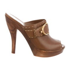 NEW Size 36 Gucci Brown Leather Peep Toe Mule Heels