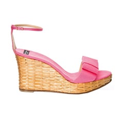 New Kate Spade Spring 2005 Collection Wicker Cabo Wedge Heels in Pink Sz 9