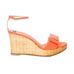 New Kate Spade Spring 2005 Collection Wicker Cabo Wedge Heels in Coral Sz 10