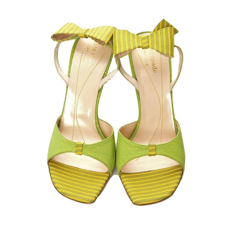 New Kate Spade Spring 2005 Collectible Green & Yellow Bow Heels Sz 6.5 For Sale 1
