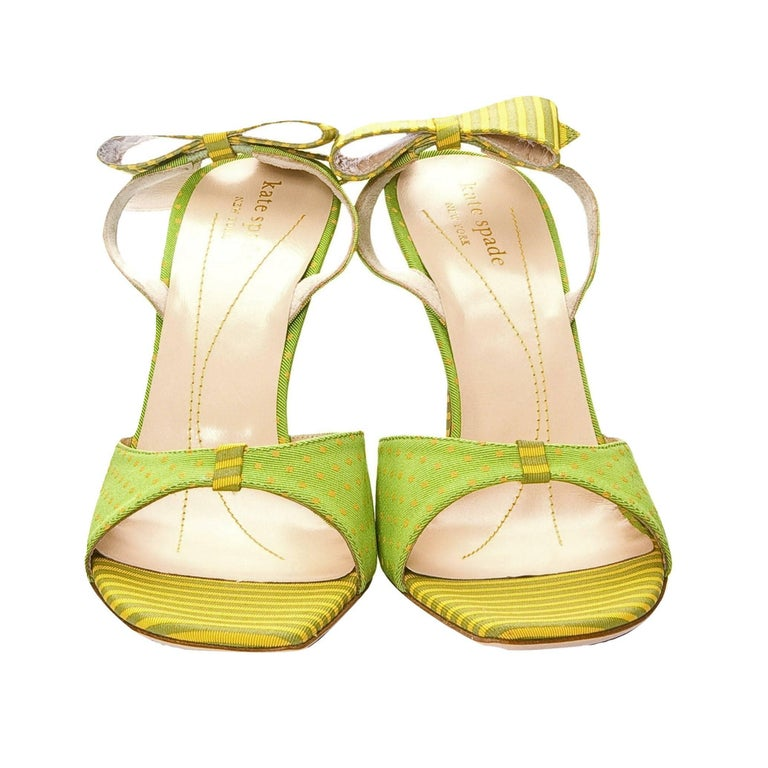New Kate Spade Spring 2005 Collectible Green & Yellow Bow Heels Sz 6.5 For Sale 3