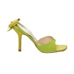 New Size 6.5 Kate Spade Spring 2005 Collection Green & Yellow Bow Heels