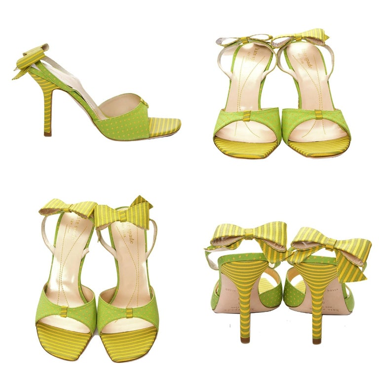 Brown New Kate Spade Spring 2005 Collectible Green & Yellow Bow Heels Sz 6.5 For Sale