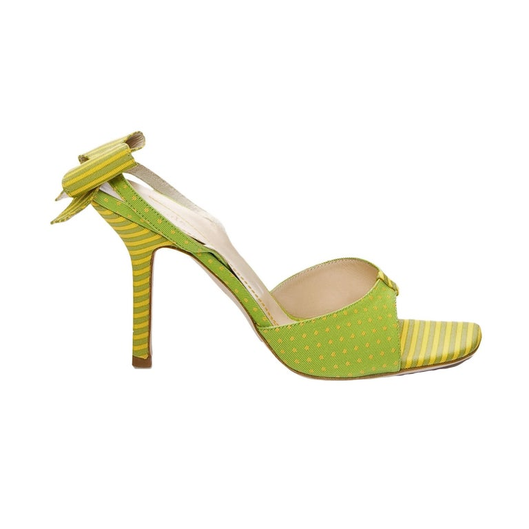 New Size 8 Kate Spade Spring 2005 Collection Green & Yellow Bow Heels