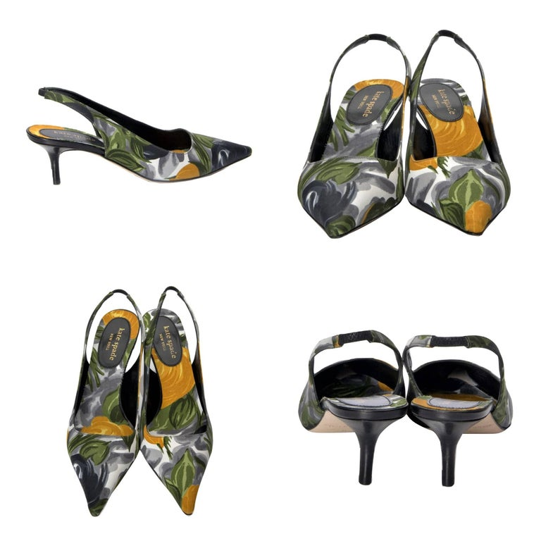 Kate Spade  From Her Spring 2005 Collection Brand New See our 1stDibs Store for the matching bag * Floral Heels * Slingback Pump * 2