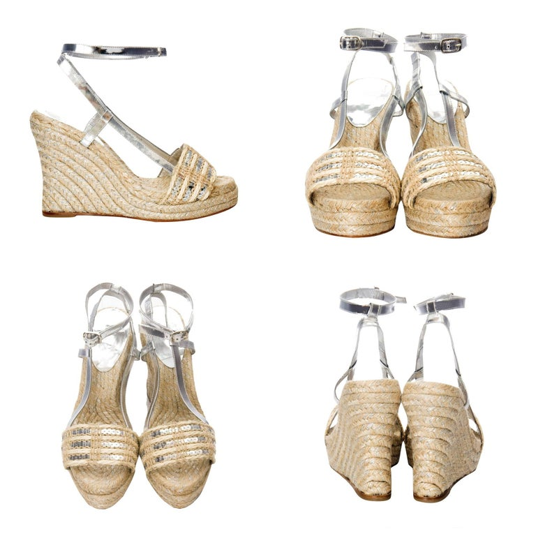 Kate Spade  From Her Spring 2005 Collection Brand New * Silver & Beige Espadrilles * Silver Leather * Adjustable Ankle Strap * 4.5