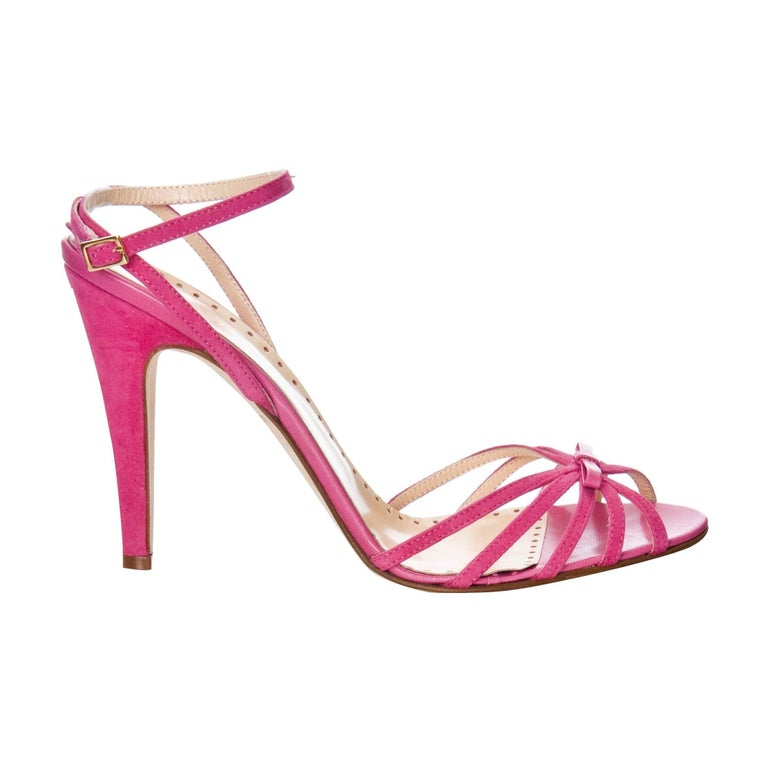 New Rare Kate Spade Spring 2005 Collectible Suede and Leather Heels Sz 10 In New Condition For Sale In Leesburg, VA