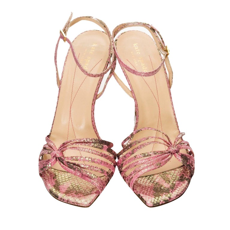 New Size 9 Kate Spade Her Spring 2005 Collection Snakeskin Print Fabric Heels
