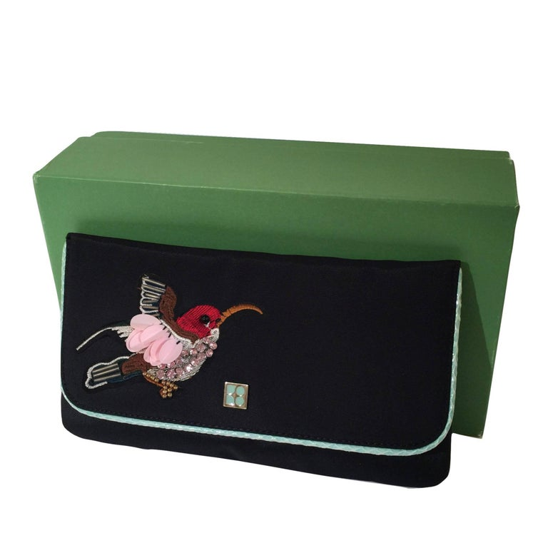 New Kate Spade Spring 2005 Snakeskin Bird Clutch Wristlet Bag  In New Condition For Sale In Leesburg, VA