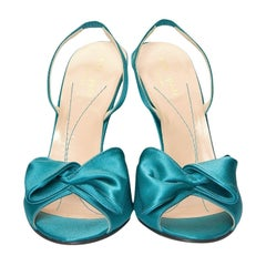 New Size 6 Kate Spade Her Spring 2005 Collection Teal Satin Heels