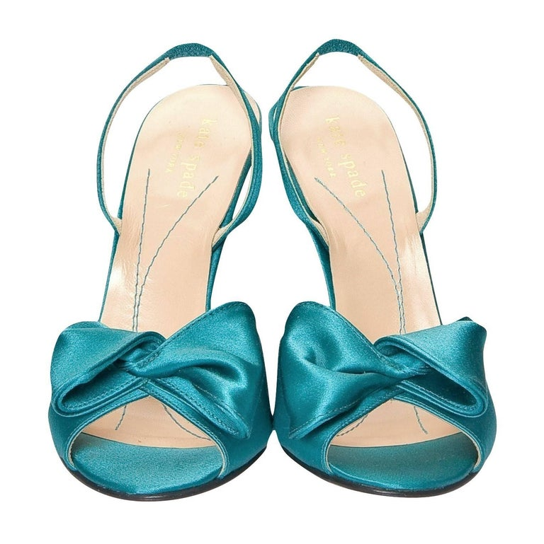 New Size 6 Kate Spade Spring 2005 Collection Teal Satin Heels