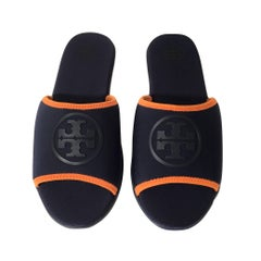 New Size 7 Tory Burch Blue Neoprene Logo Slide Sandals Shoes