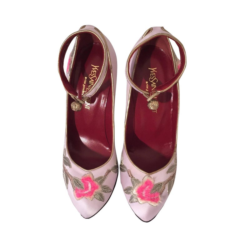 New Tom Ford for Yves Saint Laurent YSL Lotus Heels Final Collection 200 Sz 36.5 For Sale 9
