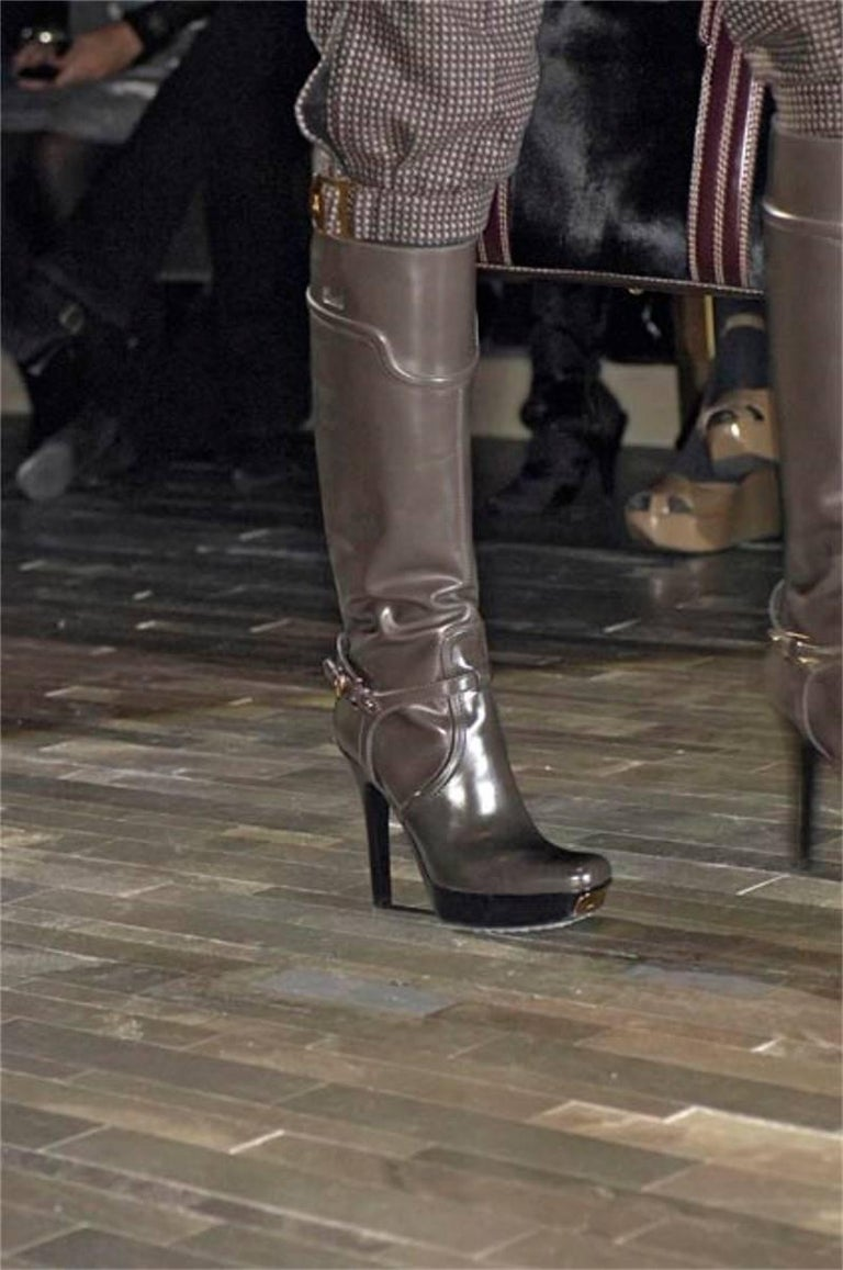 Gucci Dark Gray Leather Platform Boots Sz 6 For Sale 10