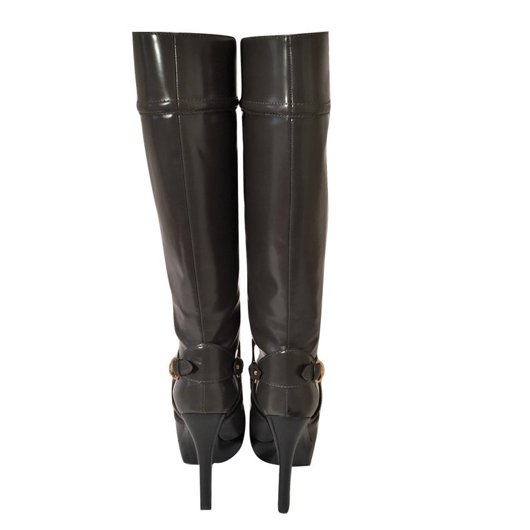Gucci Dark Gray Leather Platform Boots Sz 6 For Sale 6