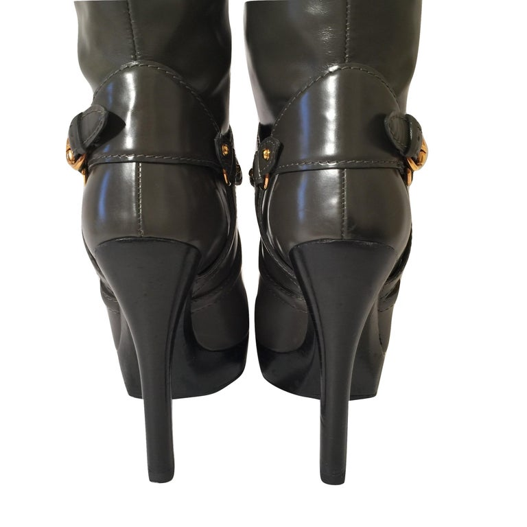 Gucci Dark Gray Leather Platform Boots Sz 6 For Sale 8