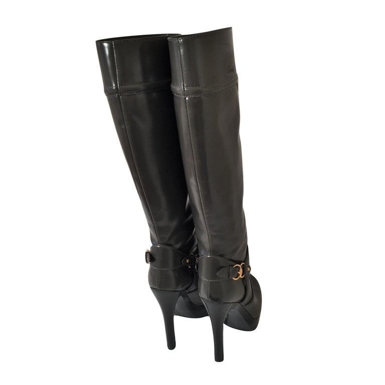 Gucci Dark Gray Leather Platform Boots Sz 6 For Sale 9