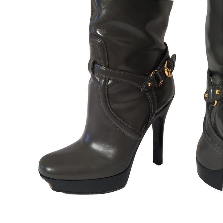 Gucci Dark Gray Leather Platform Boots Sz 6 For Sale 1