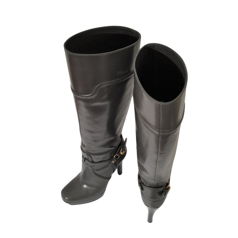 Gucci Dark Gray Leather Platform Boots Sz 6 For Sale 3