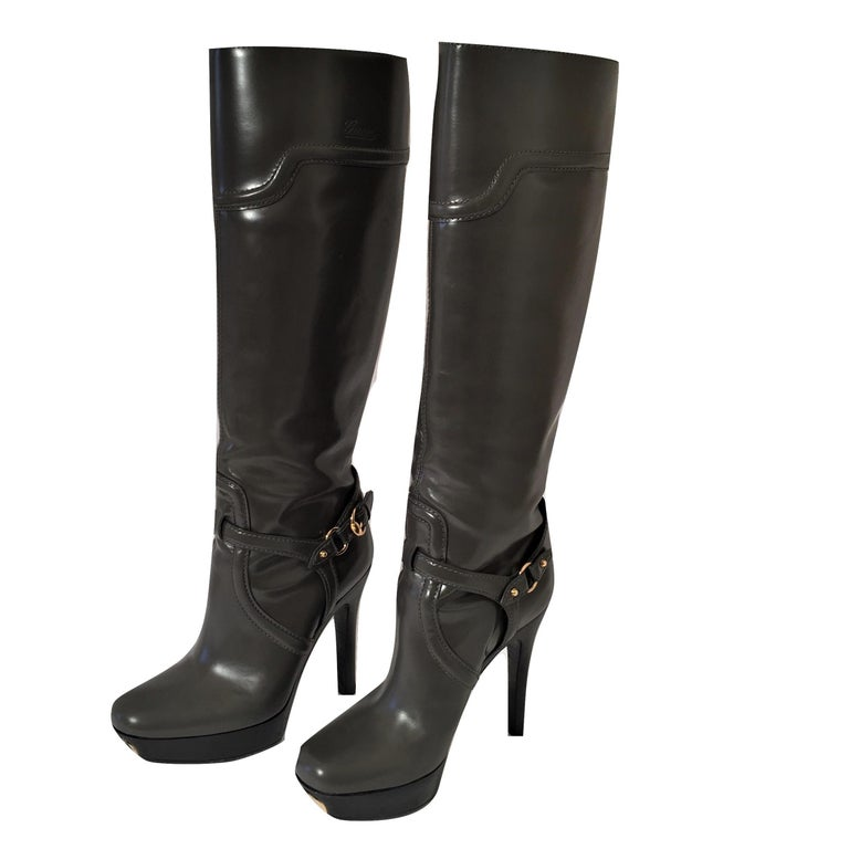 Gucci Dark Gray Leather Platform Boots Sz 6 For Sale 12