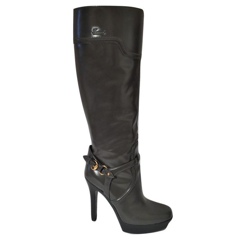 Women's Gucci Dark Gray Leather Platform Boots Sz 6 For Sale