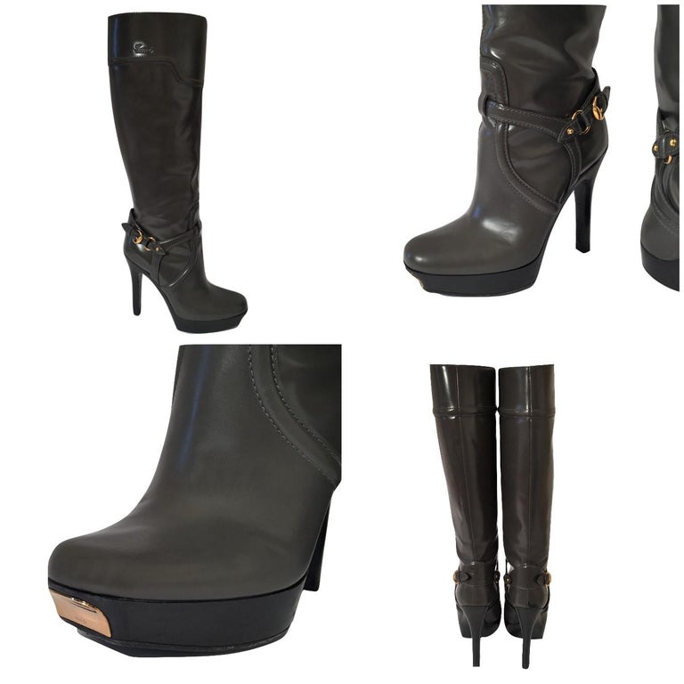Gucci Dark Gray Leather Platform Boots Sz 6 For Sale 7