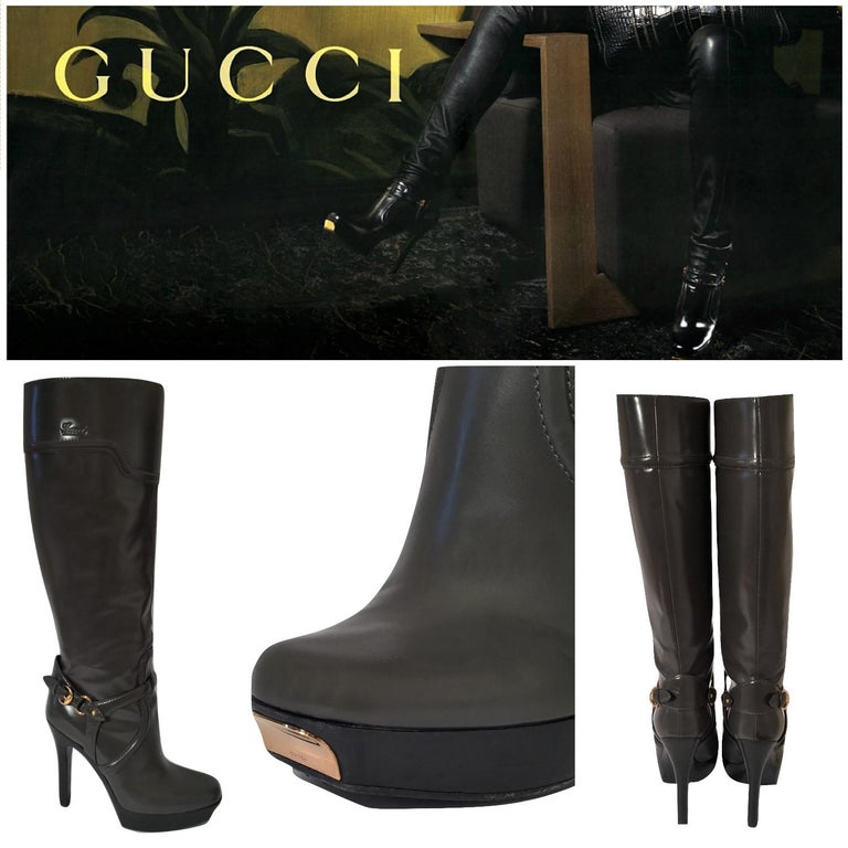 Gucci Platform Boots Worn Twice Excellent Condition * Rare Platform Boots * U.S. Size: 6 * Soft Gray Leather * Gold Hardware * Gold Toe Tips * 1.5