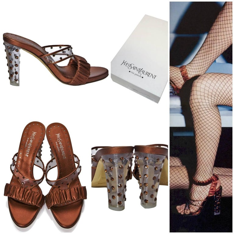 Tom Ford For YSL Heels Brand New * Rare Tom Ford For YSL Runway Celebrity Heels  * Own a Piece of Fashion History! * Size Euro: 37.5 * Lucite & Crystal Toe * Bronze Metallic Leather * Crystal Embellished Lucite Heel See Through Nail Heads * 4