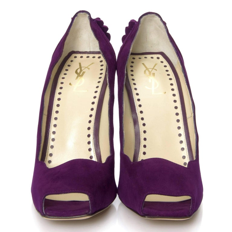 Purple New Tom Ford for Yves Saint Laurent YSL Suede Heels Pumps Sz 38 For Sale