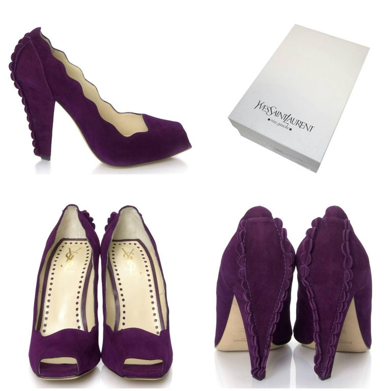 Tom Ford For YSL Heels Brand New * Stunning Suede In Purple * Tom Ford's Final Years w/ YSL * Iconic and Impossible to Find New * Unique Scalloped Sides & Heel * Leather Insole  * Open Square Toe  * 4.5