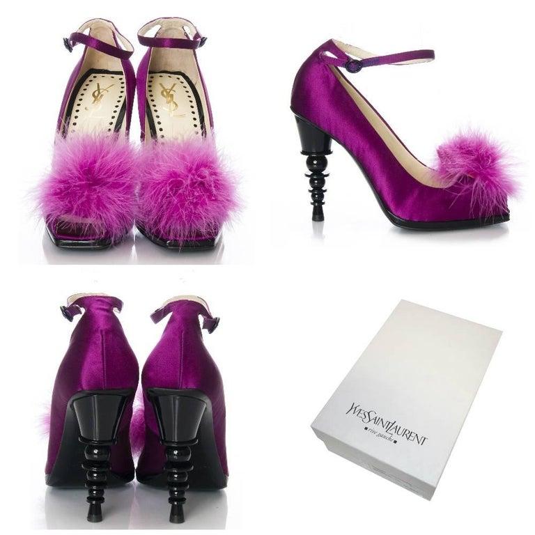 Purple New Yves Saint Laurent by Stefano Pilati YSL Runway Heels Sz 37.5 For Sale