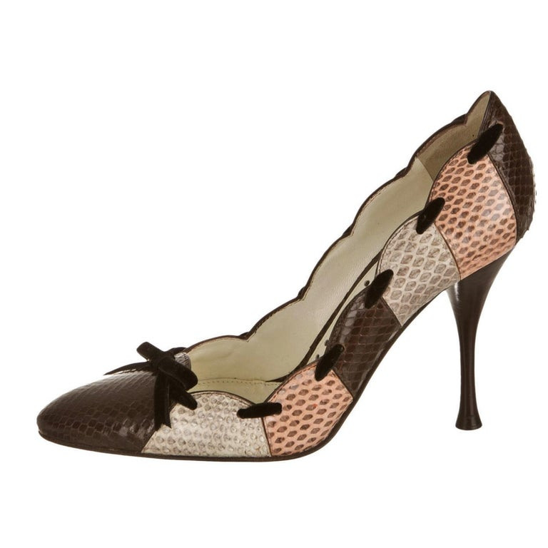 New Tom Ford for Yves Saint Laurent YSL Snakeskin Heels Pumps Sz 40 In Excellent Condition For Sale In Leesburg, VA