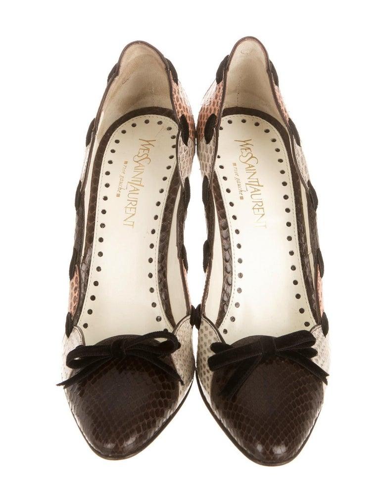 Women's New Tom Ford for Yves Saint Laurent YSL Snakeskin Heels Pumps Sz 40 For Sale
