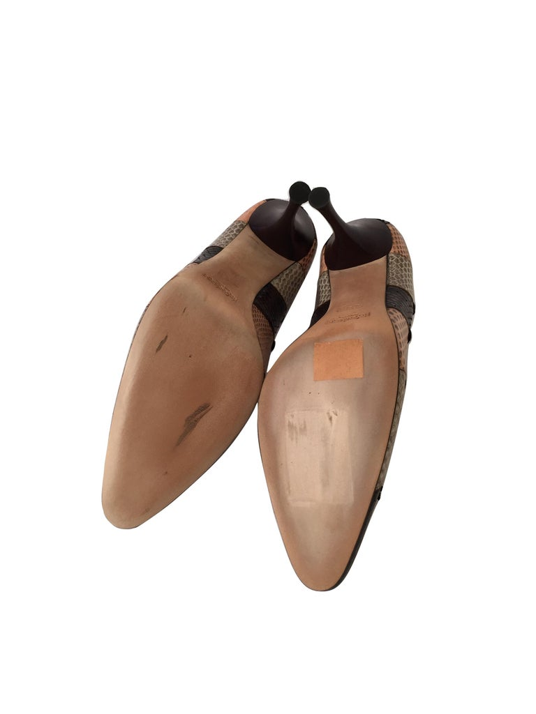 New Tom Ford for Yves Saint Laurent YSL Snakeskin Heels Pumps Sz 40 For Sale 1