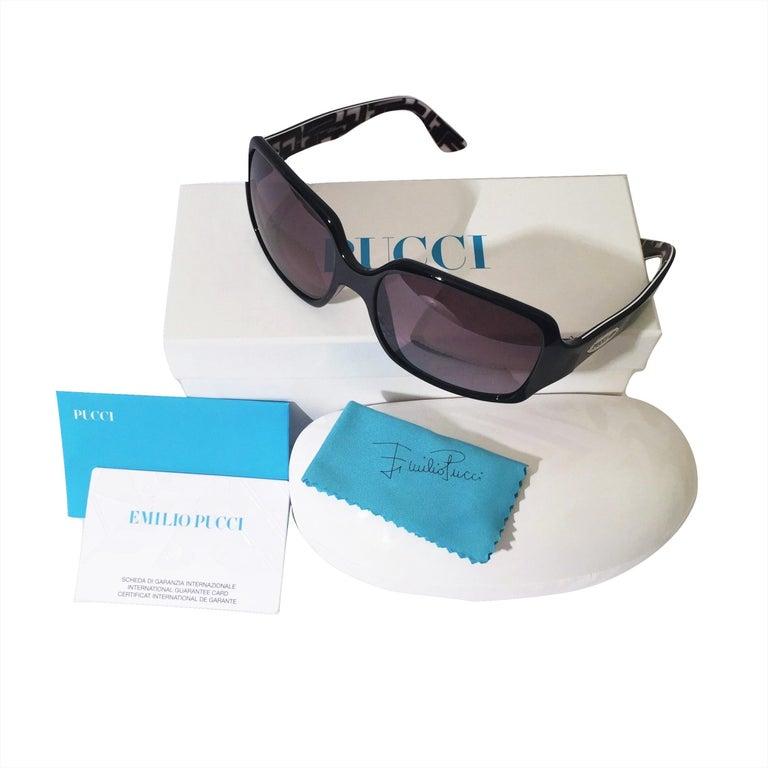 New Emilio Pucci Black Logo Sunglasses With Case & Box For Sale 6