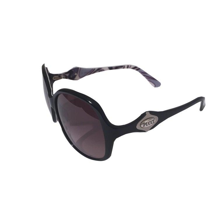 New Emilio Pucci Black Logo Sunglasses With Case & Box For Sale 3