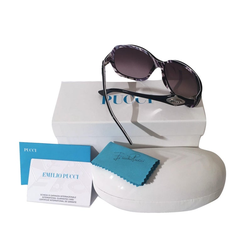 Emilio Pucci Sunglasses Brand New * Stunning Classic Pucci Sunglasses * Classic Black Frames * Pucci Print Interior: * Black, White & Purple * Silver Pucci Logo on Both Sides * Handmade ZYL in Italy * 100% UV Protection * Comes with Case, Cleaning