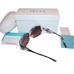 New Emilio Pucci Black Logo Sunglasses With Case