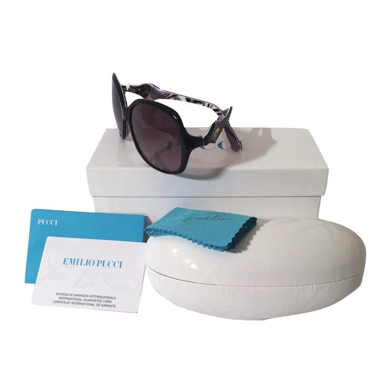 New Emilio Pucci Black Logo Sunglasses With Case & Box For Sale 8