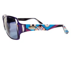 New Emilio Pucci Purple Logo Sunglasses With Case