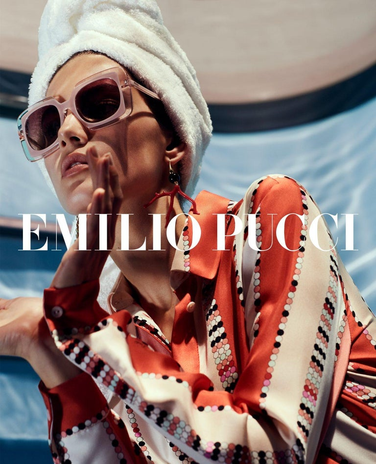 New Emilio Pucci Brown Logo Sunglasses With Case & Box In New Condition For Sale In Leesburg, VA